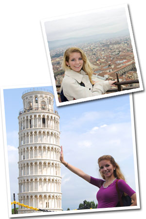 Photos of Caitlin Miezger in Italy and at the Tower of Pisa