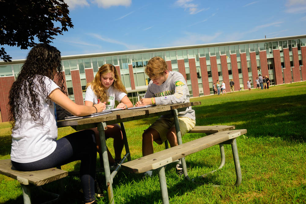 students study outside