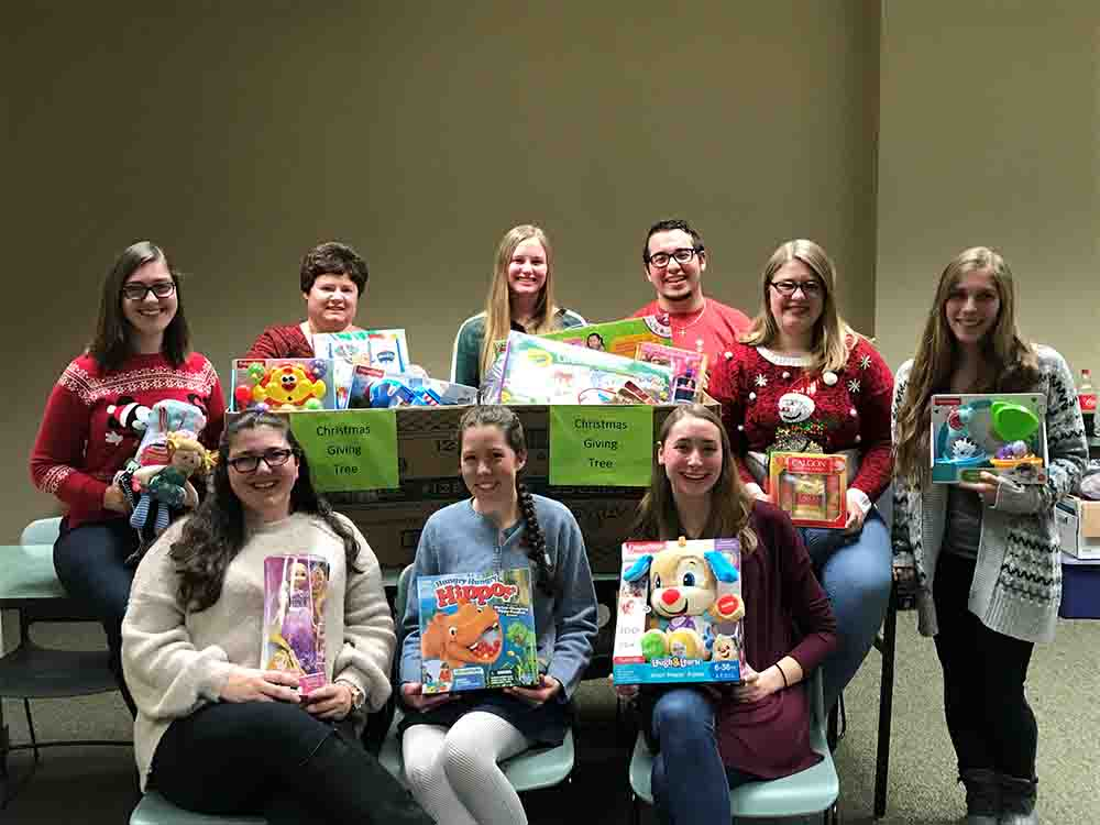 CSD Department and Speech and Hearing Club hold Christmas gifts