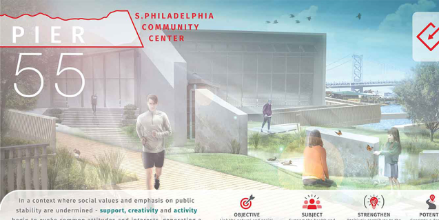 Pier 55 S. Philadelphia Community Center project mapping concept
