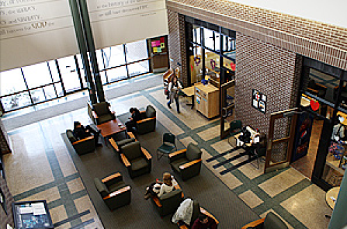 Aerial view of the Atrium in the McGowan Building