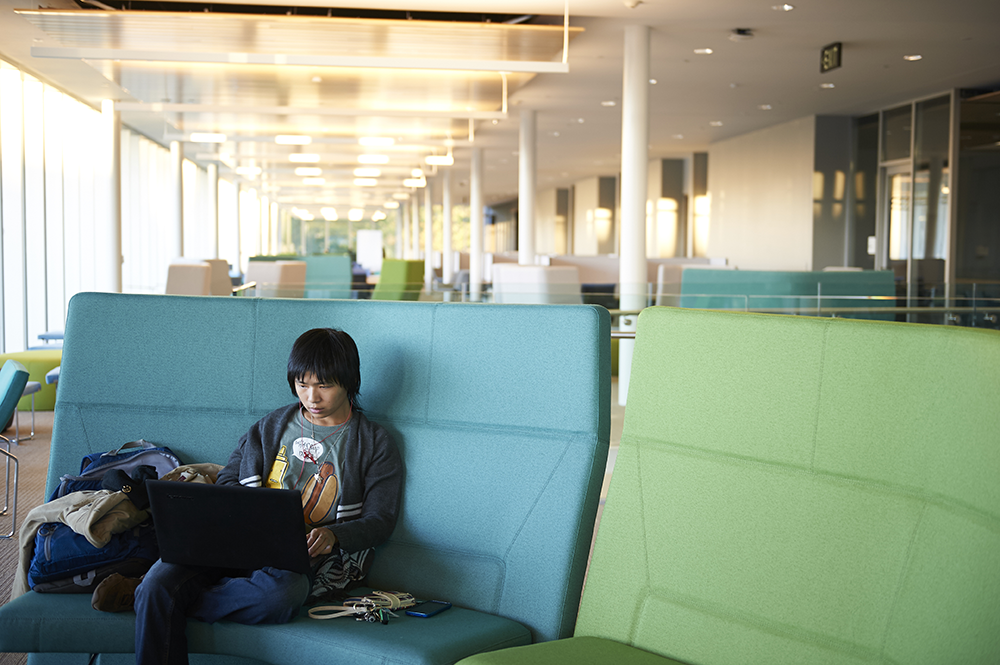 student studies in learning commons