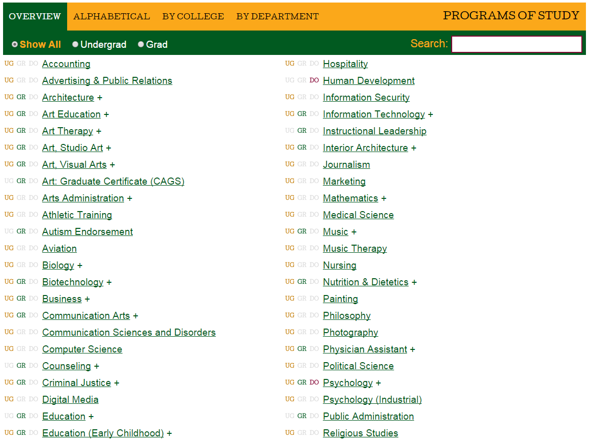 programs of study at marywood listing