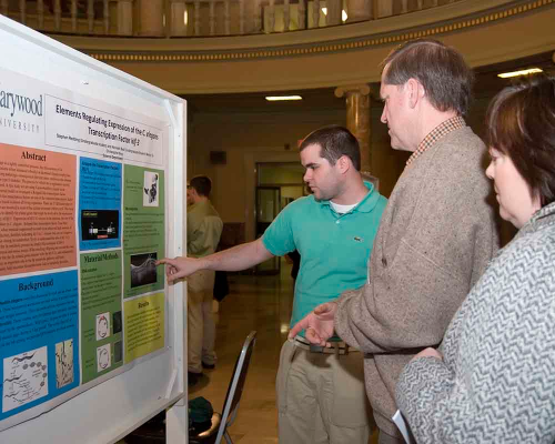 student discuss research to faculty