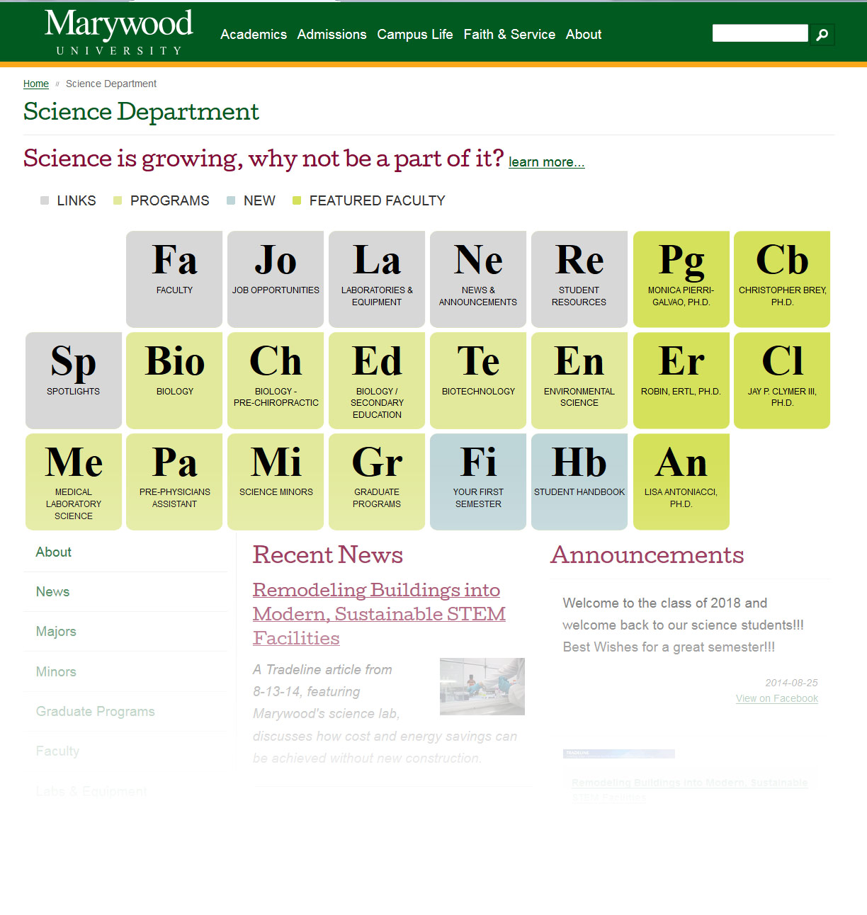 science webpage periodic table