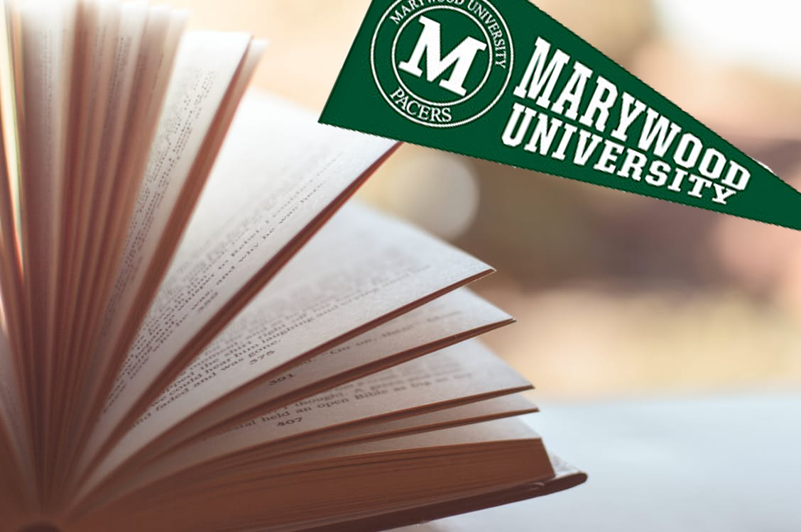 marywood pennant and book
