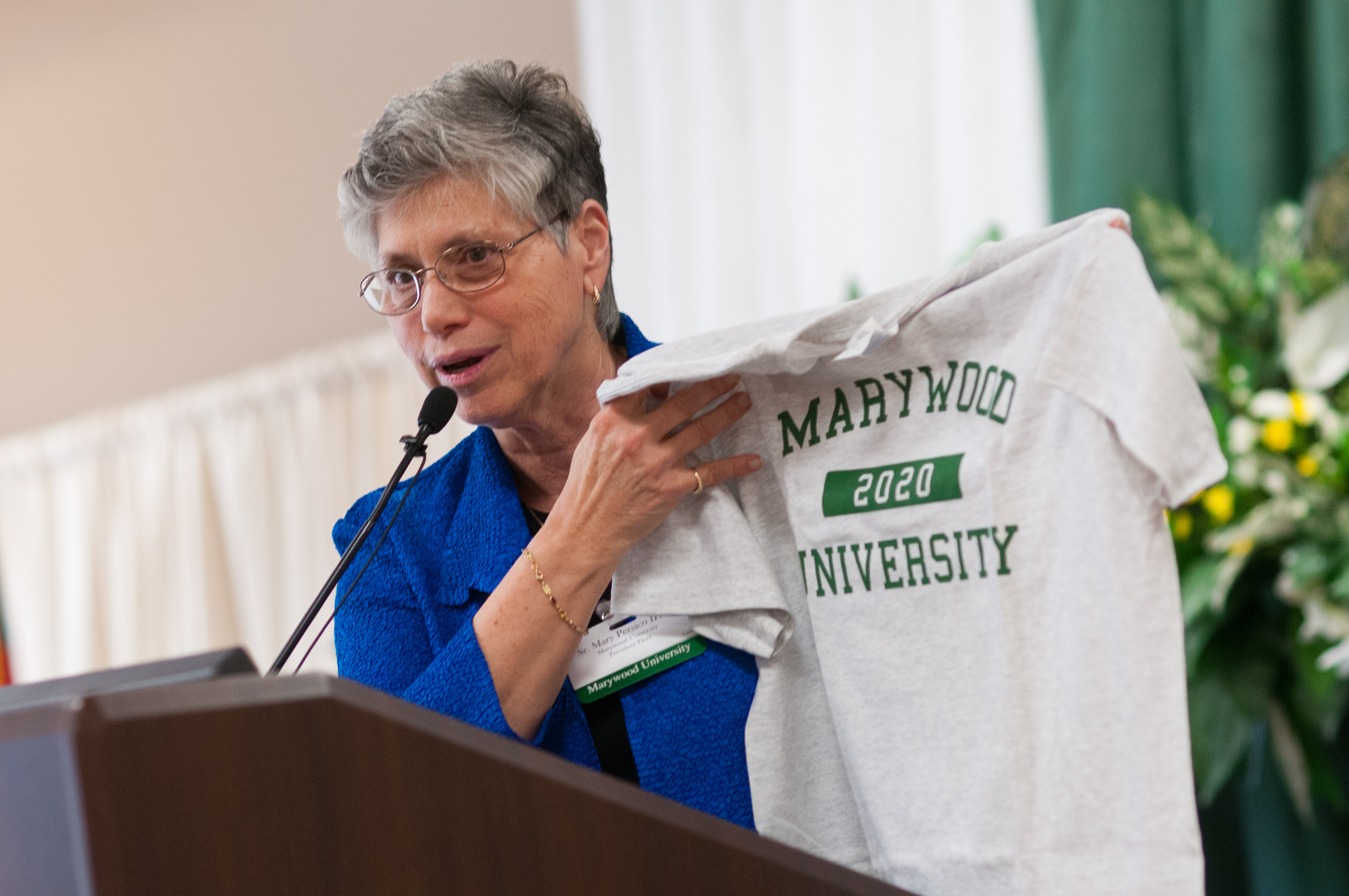 Sister Mary Persico with Class of 2020 Shirt