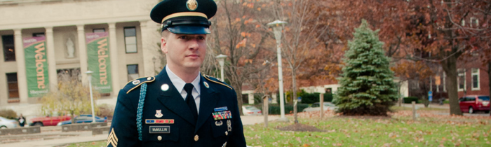 soldier walks at marywood