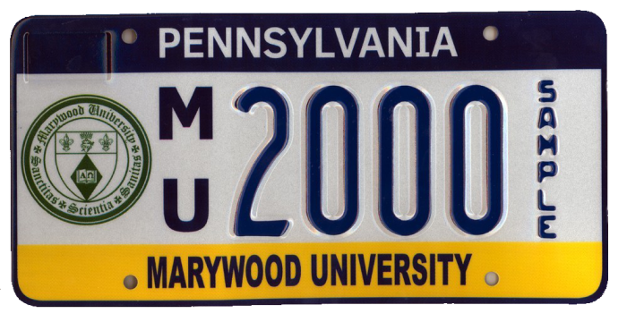 Marywood License Plate