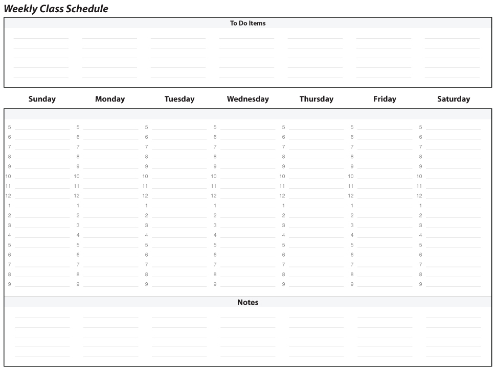 Weekly Schedule Planner Marywood University