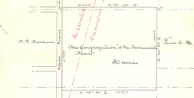Map of 30 Acres Purchase on March 30, 1895