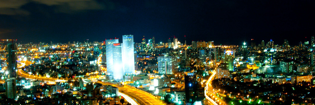 Tel Aviv skyline at night, Israel