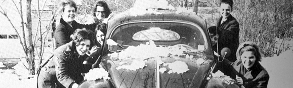 1965 snow covered car